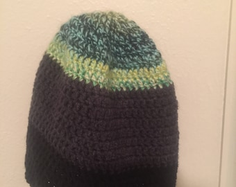 Neon, gray, and black crocheted beanie