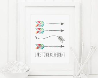 Dare To Be Different Printable Tribal Arrow Print Tribal Nursery Decor Tribal Wall Art Nursery Quote Print Inspirational Nursery Poster Boy