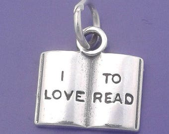 Book Charm .925 Sterling Silver I LOVE To READ, Open Book, Novel, Student Pendant - f42131