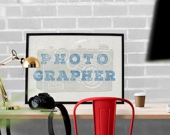 Photographer Printable, Photography Sign, Photographer Gift, Typography Print, Printable File, Photography Printable, Woodblock Printable