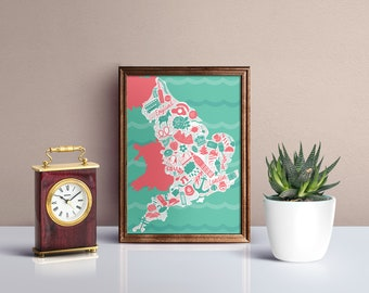 England Illustrated Map