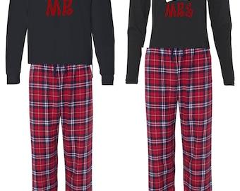 Mr. & Mrs. Santa Hat PJ and Long Sleeve Shirt set Christmas Holidays