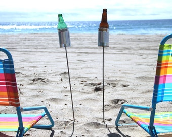 2 Hobo Tin Can Beer Holders/ Personalized Beach Drink Holders