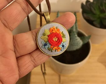 Handmade embroidered necklace, Floral necklace, Embroidered necklace, Red Rose flower embroidered necklace, Embroidered jewelry