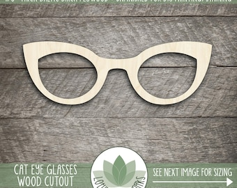 Cat Eye Glasses Wood Cut Shape, Unfinished Wood Eye Glasses Laser Cut Shape, DIY Craft Supply, Many Size Options