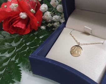 Solid 14kt gold initial necklace solid rose gold necklace solid yellow gold necklace solid white gold necklace 15 inch 18 inch 13 inch chain