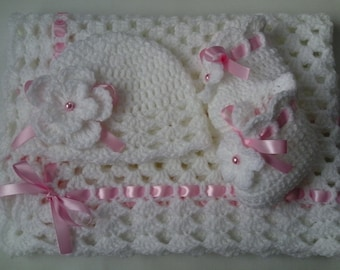 Crochet Baby Blanket, Hat and  Booties Set gift christening baptism baby white afghan baby shower photo prop