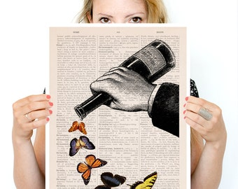 Last drop of butterflies Poster, Music art, Kitchen art, Wall art ,Butterfly art, Giclee art, kitchen   BFL087PA3