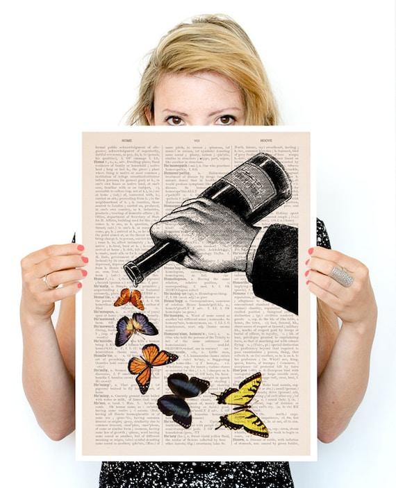 Last drop of butterflies Poster, Music art, Kitchen art, Wall art ,Butterfly art, Giclee art, kitchen   BFL087PA3