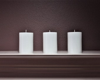 Unscented White Pillar Candle Set of 3