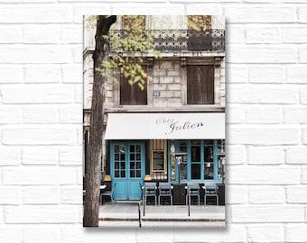 Paris Photograph on Canvas - Cafe Julien, Gallery Wrapped Canvas, Paris Cafe, Blue Door, Large Wall Art, Urban Decor