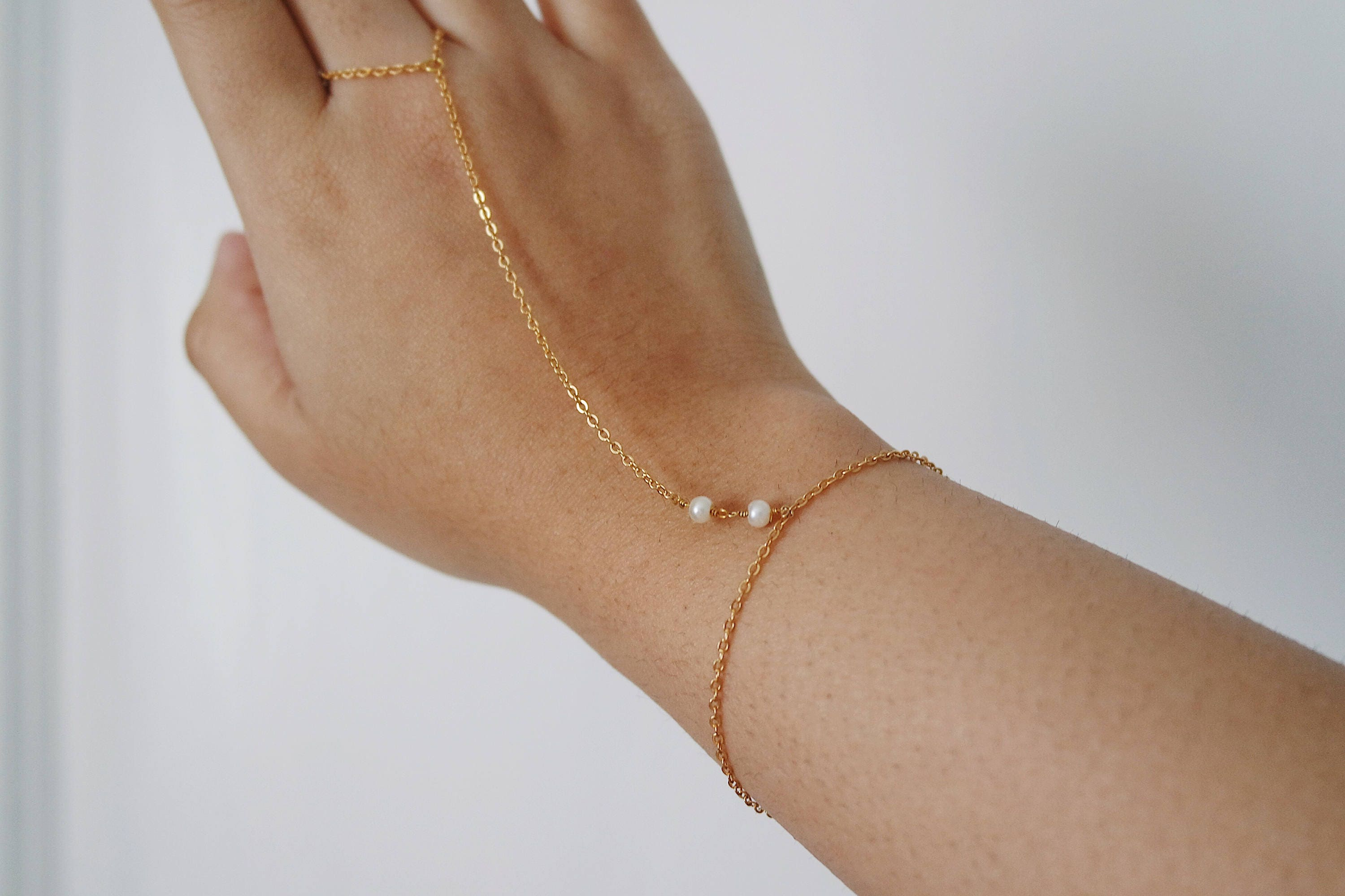 Pearl Slave chain pearl ring bracelet simple gold hand