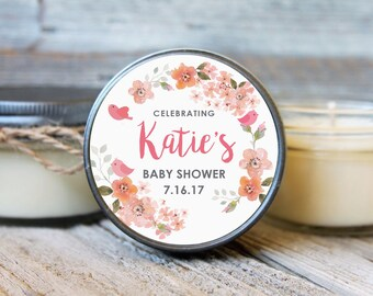 Set of 12 - 4 oz SoyCandle Favor//Baby Bird Baby Shower//Girl Baby Shower//Boy Baby Shower//Floral Shower Favor//Bird Baby Shower