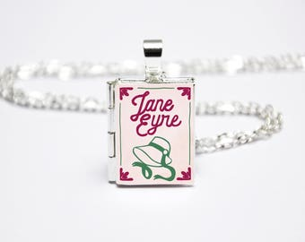 Jane Eyre Book Locket Charm. Bronte Sisters Book Charm. Charlotte Bronte Necklace. Book Jewellery. Literary Jewelry. Silver Locket Library