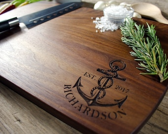 Personalized Nautical cutting board, nautical wedding gift, Engraved cutting board, wedding gift for couples, couples gift, engagement gift