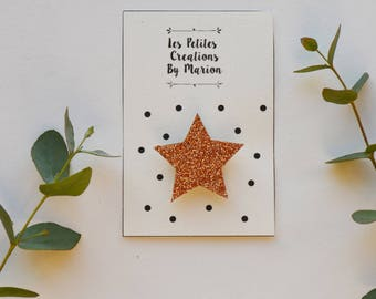 copper glitter star brooch