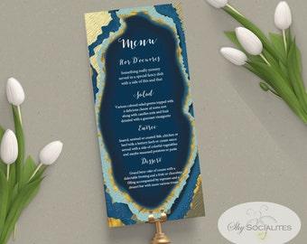 Blue Gold Dipped Agate Slice Wedding Menu | Geode, Printable Menu | INSTANT DOWNLOAD |  PDF