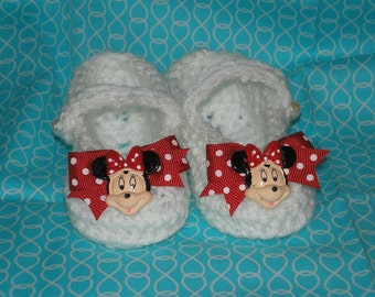 Baby Mary Jane Shoes, Crib Shoes, Minnie Mouse Shoes,  Crochet Baby Girl Slippers, Size 9 - 12 Months, Ready To Ship