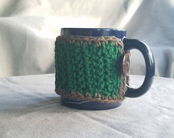 Mug Sweater// Mug Hug // tree green and brown// 10oz mug// handmade// ready to ship// gift