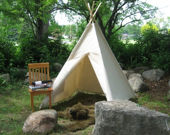 Canvas Teepee Tent, Two Sizes, Can Include Window with Roll Up Shade, Kids Play Tent READY TO SHIP, 6 Foot Poles Included
