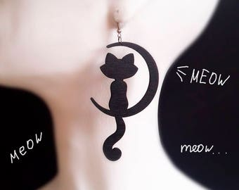 Black Cat Wooden Earrings,  Wooden Jewelry, cute unique earrings, Stylish Earrings,  round wood earrings