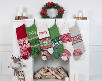Personalized Christmas Stockings, Green Red White, Knitted Christmas Stockings with handmade embroidery, Knit Stockings, Nikolausstiefel