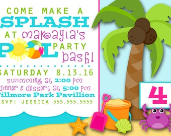 POOL PARTY INVITATION 5X7