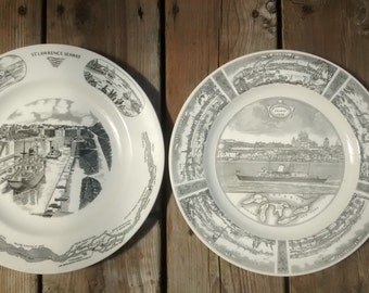 1959 ST. LAWRENCE SEAWAY Commemorative Plates Britannia Manchester Pioneer
