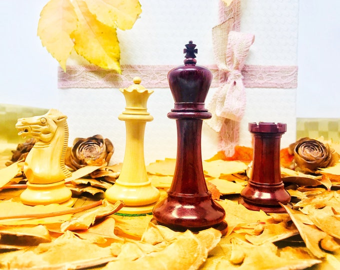 Featured listing image: Howard Staunton style Jaques chess. 4 ' Padauk