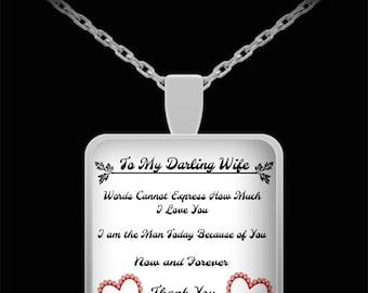 Zilver Geplateerde Square Pendant * 22 inch ketting * My Darling vrouw * Love You * Valentine's Day Gift * waardering Gift * verjaardag cadeau *