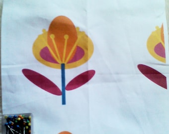 Creation of printed fabric with stylized flower pattern