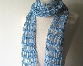 Summer Breeze Lightweight Cotton Scarf in Ocean Blue