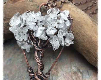 Tree of Life Heart Shaped Wire Wrapped Necklace, Gemstone,Crystal,Love, Free Shipping, Bridal, Mother of Bride, Valentine