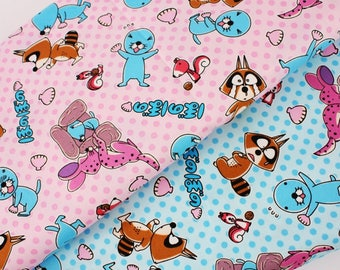 """Japanese Anime Bonobono Character Oxford Fabric made in Japan FQ 50cm by 53cm or 19.5"""" by 21"""""""