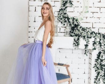 Floor-length tulle skirt fixed waistband with hidden zipper (color - Lavender)