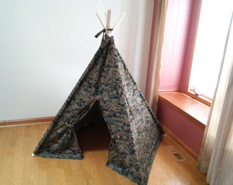 Camouflage Kids tent, Childrens Tent, Teepee, Play Tent, Tipi, Wigwam or Kids Fort digital Camo kids teepee summer outdoors