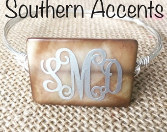 Monogrammed Wire Bangle