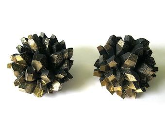 ROCK CANDY - Druzy Large Statement Earrings - Crystal Earrings, Quartz Earrings, Rock earrings, Faceted Earrings, 3D printed earrings, Stone