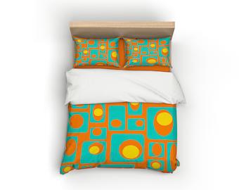 Orange, Retro, Duvet Cover, Home Decor, Bedding, Mid Century Modern,