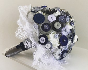 Stunning made to order beautiful button bridal bouquet bespoke and made to order wedding flowers