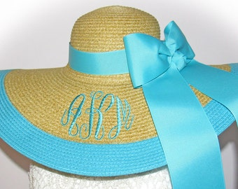 Monogrammed Personalized Natural Floppy Hat Natural & Aqua Teal NEW, Beach, Bride, Wedding, Honeymoon Bridesmaids, Sun, Derby, Cup Race