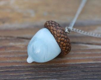 Glass Acorn Necklace, Glass Acorn Lampwork,acorn ornament, made from flamework glass and an acorn cap