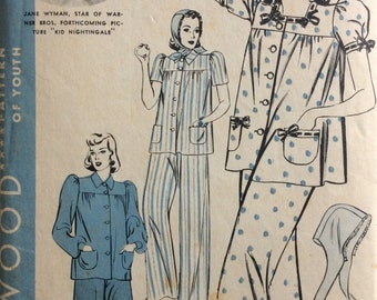 Hollywood 1918 misses pajamas & bonnet size 18 bust 36 vintage 1930's sewing pattern  Jane Wyman
