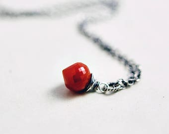 Pendant Necklace, Blood Red, Chalcedony Pendant, Crystal Necklace