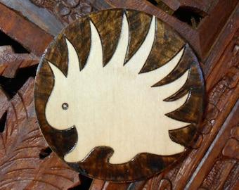 """3"""" Porcupine Magnet - Wood Burned Magnet, Pyrography Art, Wood Magnet, Porcupine, Free State Project"""