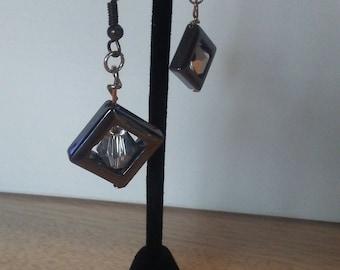 "Earrings - illusion collection ""amazement"" metal and acrylic dangle earrings"
