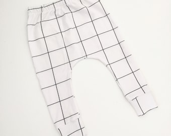 Baby Leggings, Toddler Leggings, Baby Harems - Grid // IN STOCK - SALE