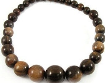 Bold & Chunky Graduated Tiger Ebony Wood Beads 10-25mm 16in