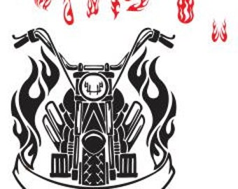 Svg File Biker and Flames SVG DXF File Cricut Svg Dxf For Silouette