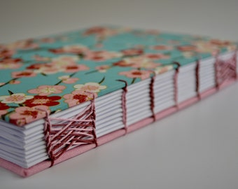 Handmade coptic journal with Japanese paper - Handmade notebook with cheery flowers - Coptic stitch and celtic weave - Chiyogami paper